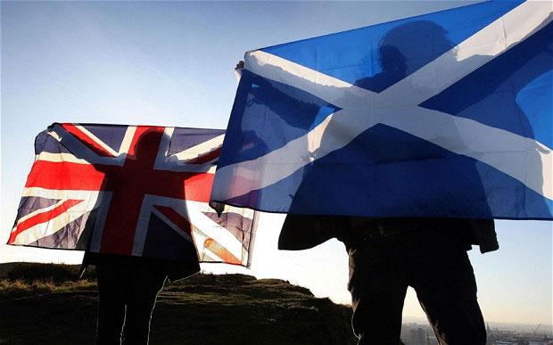 Skottland och Storbrittaniens flaggor